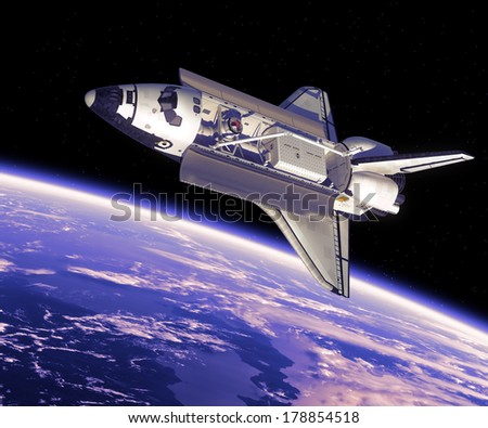 Space Shuttle In Space. 3D Scene. Elements of this image furnished by NASA.  - stock photo