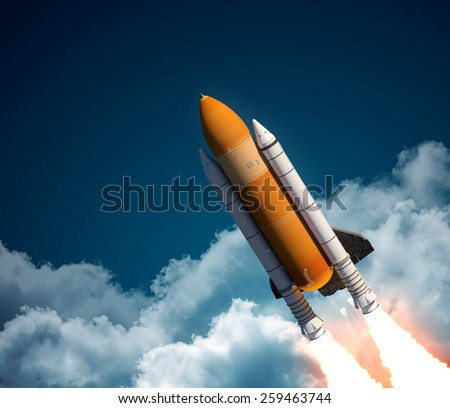 Space Shuttle In The Clouds. 3D Scene. - stock photo