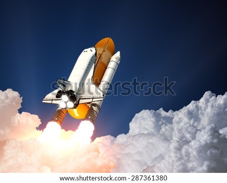 Space Shuttle Launch. 3D Scene. - stock photo