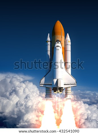 Space Shuttle Launch In The Clouds. 3D Illustration. - stock photo