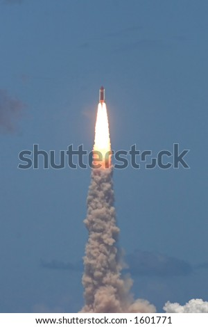 Space shuttle launch – STS 121. Photo's technical quality is low due to large distance from object - better to use in smaller resolution. - stock photo
