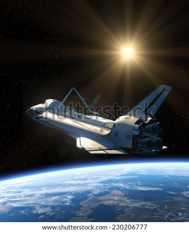 Space Shuttle Orbiting Earth. 3D Scene. Elements of this image furnished by NASA.