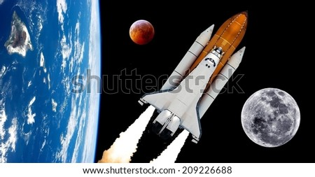 Space shuttle rocket launch moon planet spaceship background. Elements of this image furnished by NASA. - stock photo