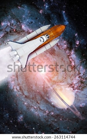 Space shuttle rocket launch spaceship spacecraft galaxy planet. Elements of this image furnished by NASA. - stock photo