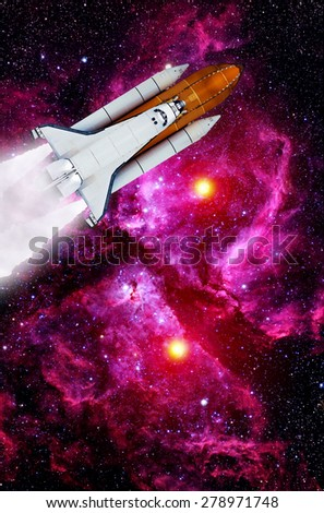Space shuttle rocket launch spaceship travel astronaut. Elements of this image furnished by NASA. - stock photo