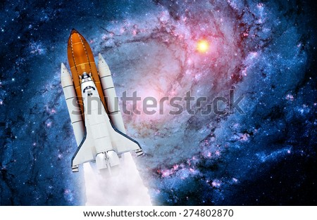 Space shuttle rocket launch spaceship universe stars. Elements of this image furnished by NASA.
