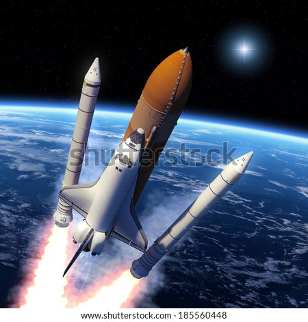 Space Shuttle Solid Rocket Boosters Separation. 3D Scene. Elements of this image furnished by NASA. - stock photo