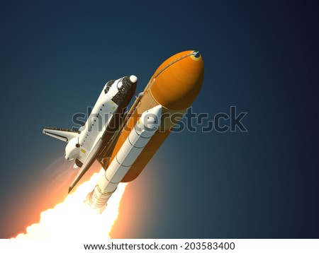 Space Shuttle Takes Off. 3D Scene. - stock photo