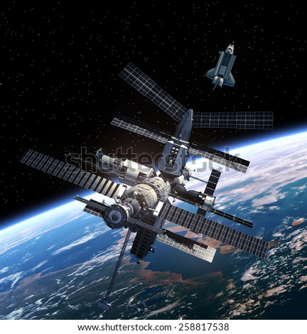 Space Station And Space Shuttle. Elements of this image furnished by NASA. - stock photo