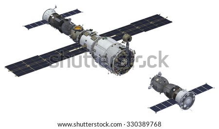 Space Station And Spacecraft. 3D Center. - stock photo