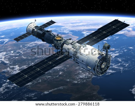 Space Station And Spacecraft. 3D Scene. - stock photo