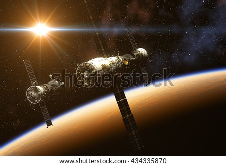 Space Station And Spacecraft On Background Of The Sun. 3D Illustration. - stock photo