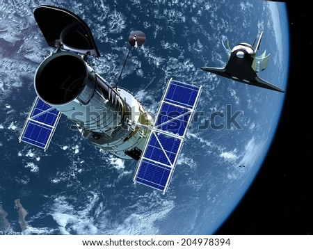 "Space station and the spacecraft in space. ""Elements of this image furnished by NASA"" - stock photo"