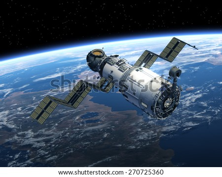 Space Station Deploys Solar Panels. 3D Scene. Elements of this image furnished by NASA.  - stock photo