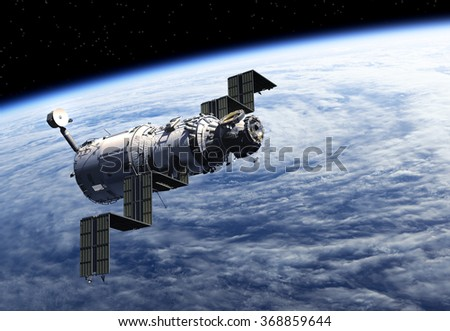 Space Station Deploys Solar Panels. 3D Scene. (NASA IMAGES NOT USED!) - stock photo