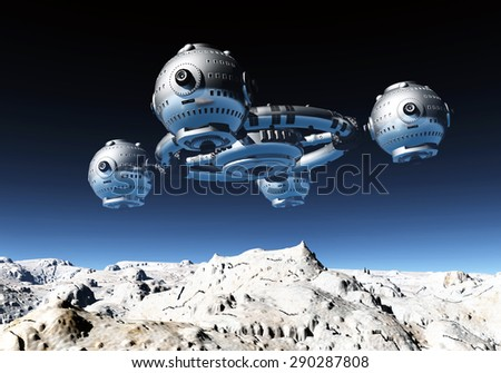 Space station in a distant world Computer generated 3D illustration - stock photo