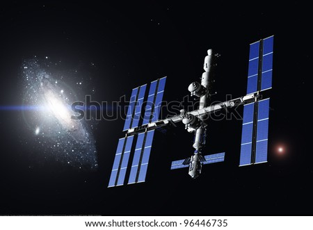 Space Station in outer space. - stock photo
