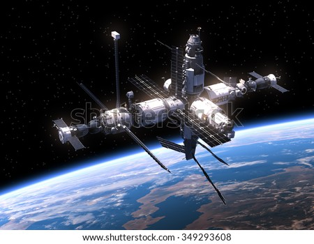 Space Station In Space. 3D Scene. - stock photo