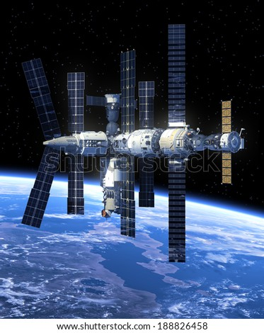 Space Station In Space. 3D Scene. Elements of this image furnished by NASA.  - stock photo