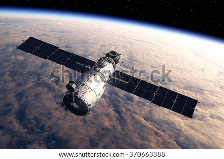 Space Station In Space. 3D Scene. (NASA IMAGES NOT USED) - stock photo