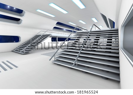 Space station Interior. 3D Architecture visualization. - stock photo