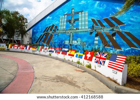 Space Station mural in Kennedy Space Center in Merritt Island, Florida. It is the launch site for every United States human space flight since 1968. - stock photo