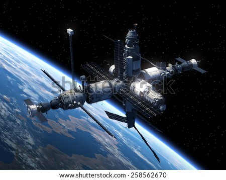 Space Station Orbiting Earth. 3D Scene. Elements of this image furnished by NASA.