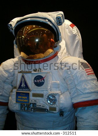 Space suit with American flag, taken at National Space Symposium, Colorado Springs, April 2005, direct angle - stock photo