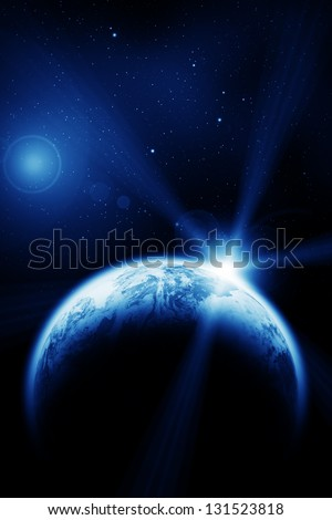 Space sunrise above the Earth planet. The Earth texture of this image furnished by NASA. - stock photo