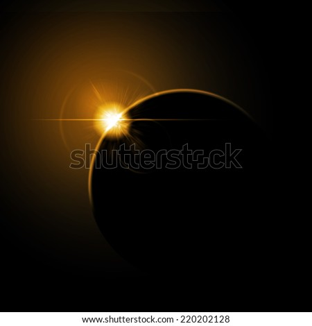 Space sunrise behind planet with orange glare and lensflare - stock photo