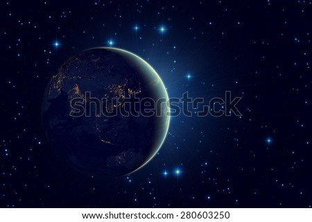 Space sunrise. Elements of this image furnished by NASA. - stock photo