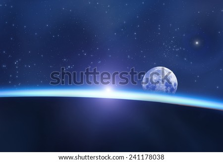 Space sunrise, good morning world! - stock photo