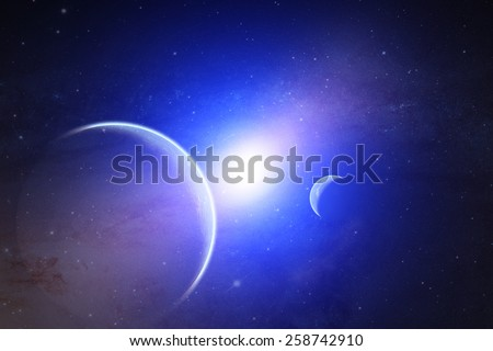 Space sunrise in a distant quasar galaxy. Elements of this image furnished by NASA. - stock photo