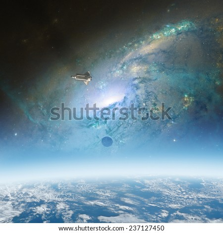 Space sunrise with NASA shuttle and galaxy background. Elements of this image furnished by NASA. - stock photo