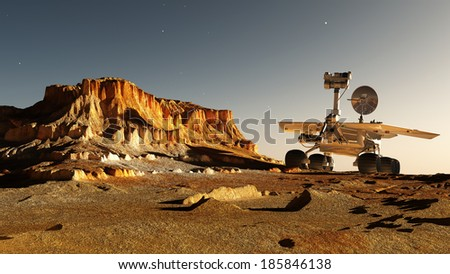 Space transport moves along the mountain lanshafty. - stock photo