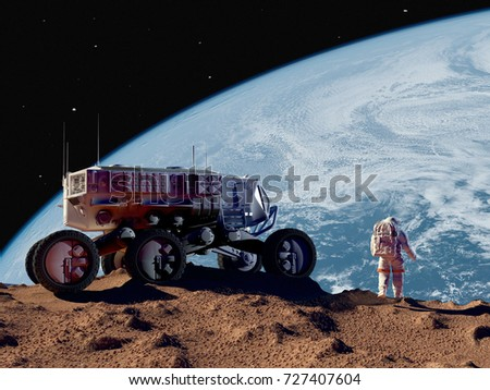 "Space transport on the planet..""Elemen ts of this image furnished by NASA"".3d render"