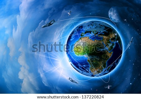Space transportation and technologies in the future, abstract backgrounds - stock photo