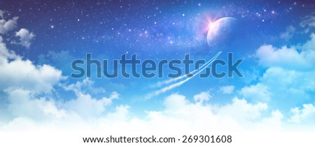 Space travel. Spacecrafts breaking through the clouds toward deep space - stock photo