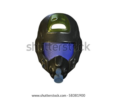 space traveler's helmet - stock photo