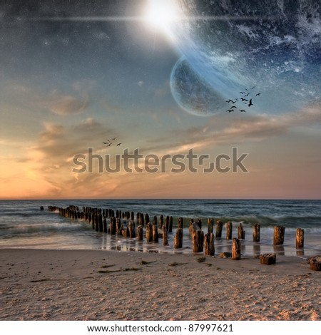 Space view from beautiful beach