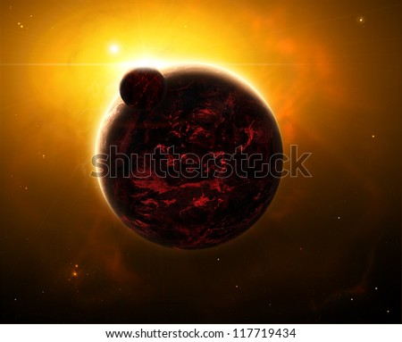 Space view of a sunrise over volcano planet with a moon or can also be seen as one of the armageddon scenarios - stock photo