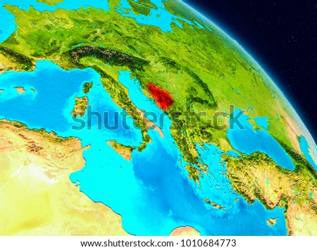 Space view of Bosnia and Herzegovina highlighted in red on planet Earth. 3D illustration. Elements of this image furnished by NASA.
