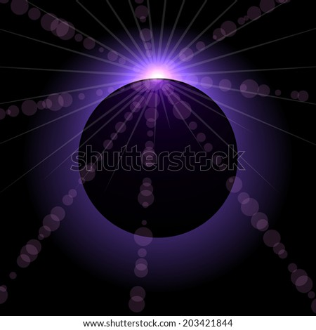 Space violet eclipse black background. - stock photo