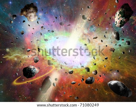 space vortex fantasy and asteroids - stock photo