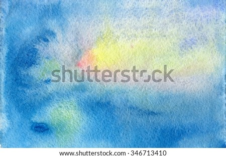 Space watercolor texture background. Beautiful hand drawn background in blue color with artistic splashes for your design. - stock photo