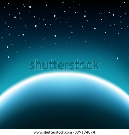 Space with stars and blue planet horizon background - stock photo