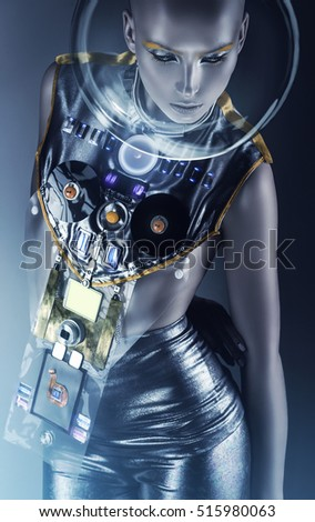Portfolio on shutterstock for Female space suit