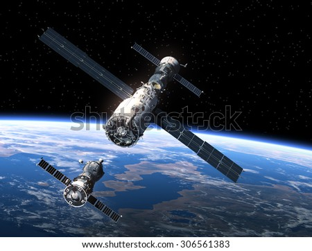 Spacecraft And Space Station. 3D Scene.