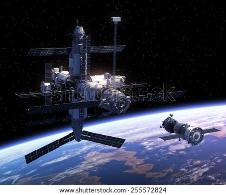Spacecraft And Space Station. 3D Scene. Elements of this image furnished by NASA.  - stock photo