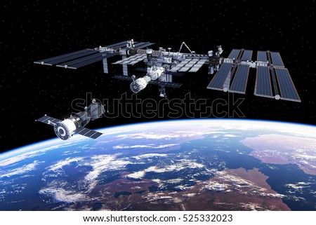 Spacecraft Docked To International Space Station. 3D Illustration.